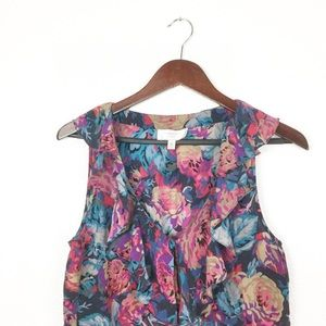 Silk Floral Ruffle Sleeveless Blouse